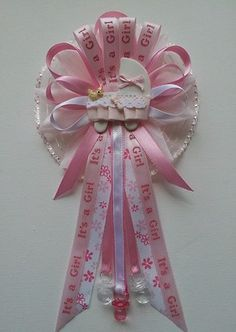 Pink Flower With Baby Carriage Mommy Baby Shower Corsage
