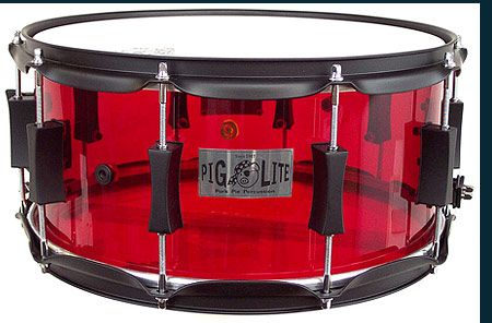Red Piglite Acrylic    USA reinforced acrylic shell  Pork Pie precision cut edges  Detailed acrylic finish  2.3 mm hoops  Pork pie exclusive lugs  USA made Remo heads  No assembly required