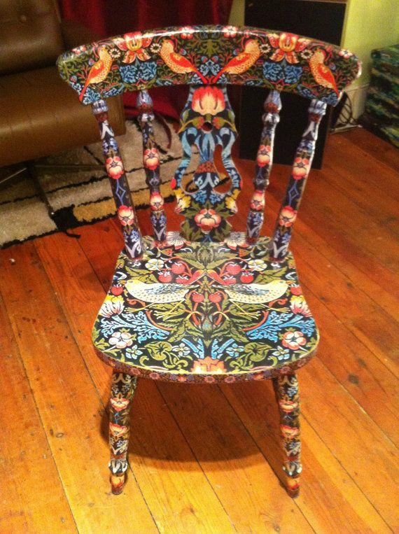 William Morris Strawberry Thief Decoupage Chair Indigo