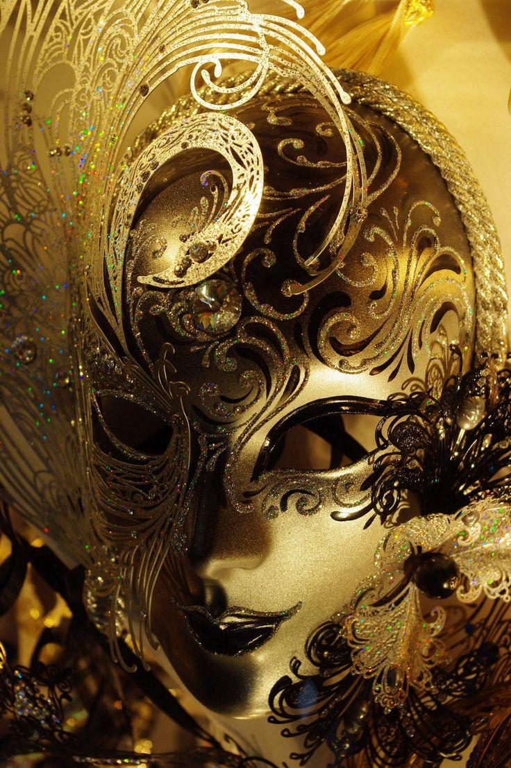 - Gorgeous Gold and Black Venetian Mask - #Masks #Venetianmask #Masquerade…