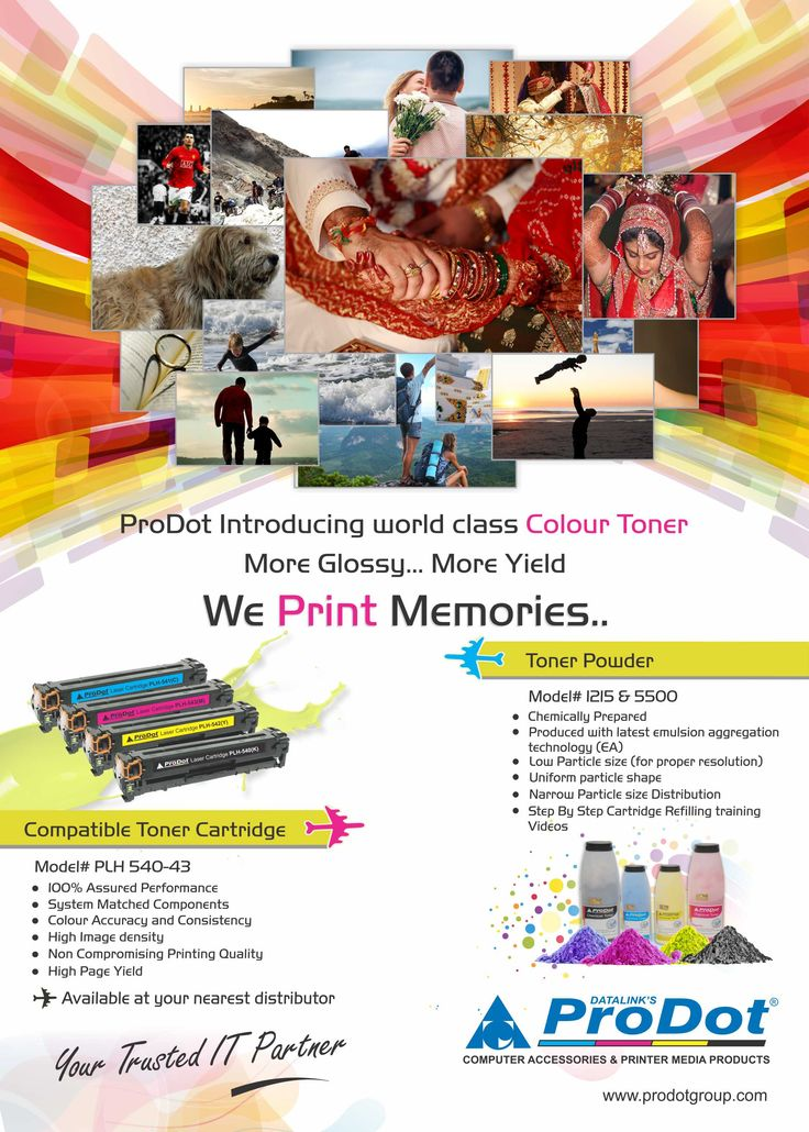 Compatible #ColorPrinter Toner Cartridges – We #Print #Memories ... #ProDot offers best quality #compatible toner powder for the color toner cartridges and assures the maximum page yield and quality prints in comparison with OEM's. Our #PMS feature ensures accurate matching of all essential components. You can also avail our color toner #cartridges without compromising on quality standards.For More Detail Visit http://goo.gl/juMqYP