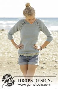 Sweater with raglan and lace pattern, worked top down. Free knitting pattern. Pattern category: Sweaters. DK weight yarn. 1200-1500 yards|1500-1800 yards|900-1200 yards. Features: 3-quarter sleeves, Crew Neck, Lace, Raglan, Seamless, Top-Down. Intermediate difficulty level.