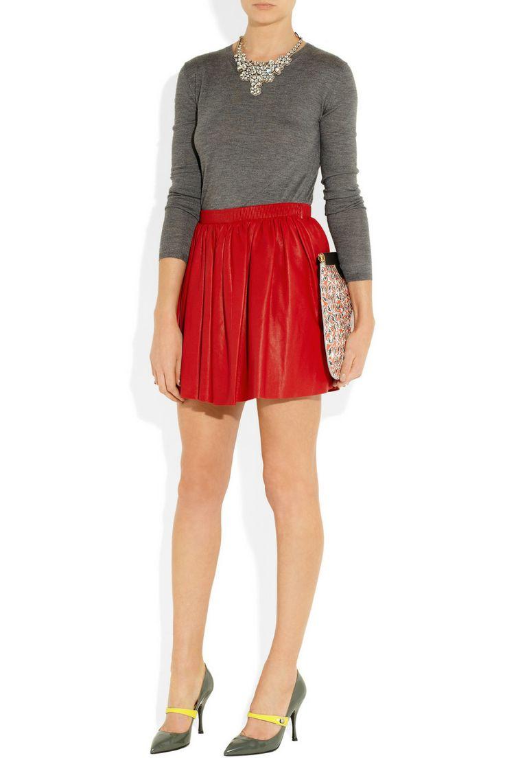 Miu Miu Pleated leather mini skirt NET-A-PORTER.COM