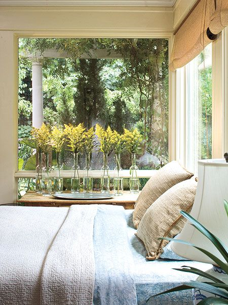 Flower vases with window views to the woods