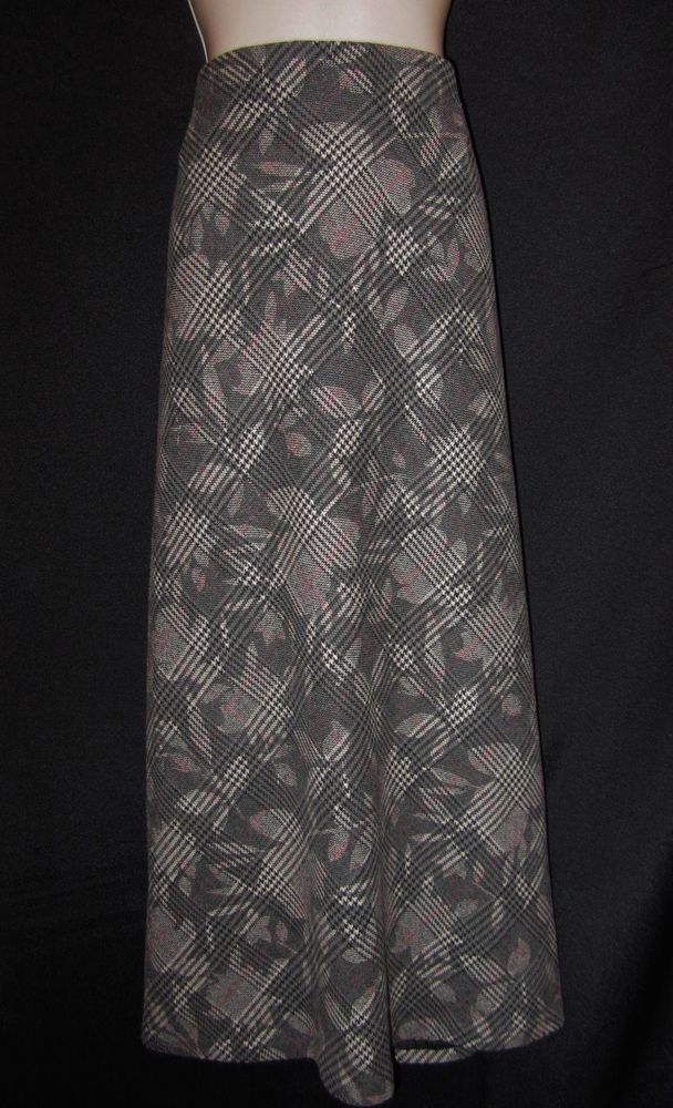 IE Woman size 18W Plus Skirt Black Plaid Houndstooth Floral Long Wool Modeset #IEWoman #ALine