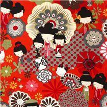 Tessuto rosso/arancione bambole Kokeshi di Alexander Henry - Tessuti Asia - Tessuti