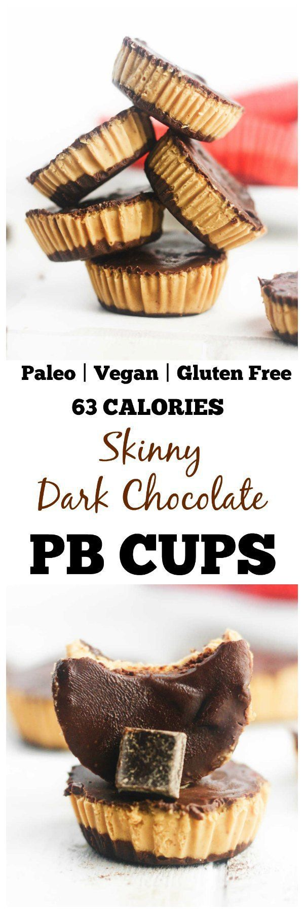 Healthy, dark chocolate peanut butter cups that are gluten free, paleo and vegan friendly. Made with PB fit powder, these make the perfect, deliciously low calorie treat! http://www.itscheatdayeveryday.com