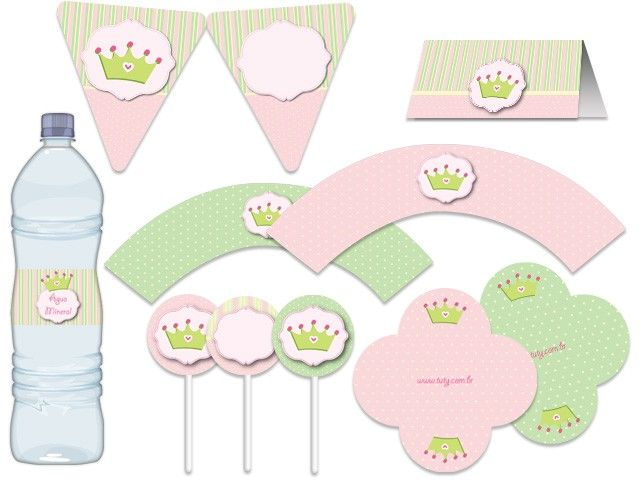 Festa Coroa, princesa - aniverários - chá de bebê rosa, verde Tuty - Arte &…