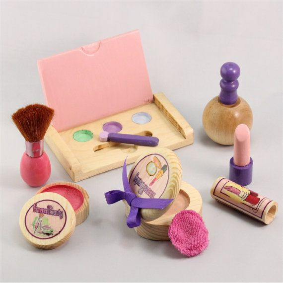 Pretend Wooden Makeup and Cosmetics Set by ForeverAfters on Etsy, $32.00