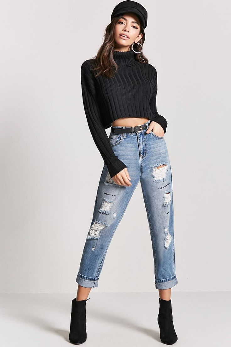 Distressed Graphic Ankle Jeans - Women - 2000200637 - Forever 21 EU English