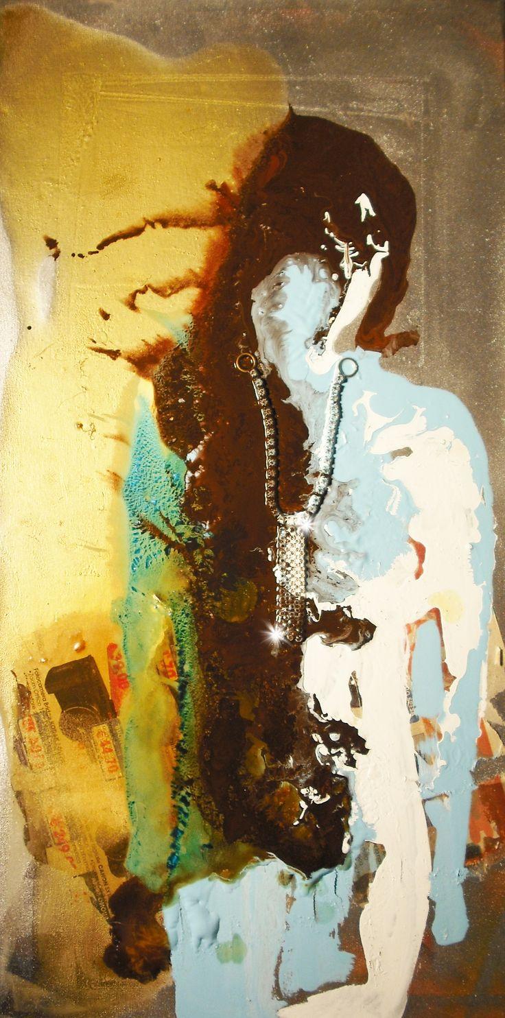 #mared'inverno #palmonimartina #arte #quadro #acrilico su tela #smalto su tela #riciclo #gioielli #artista italiana #dipingere#oro