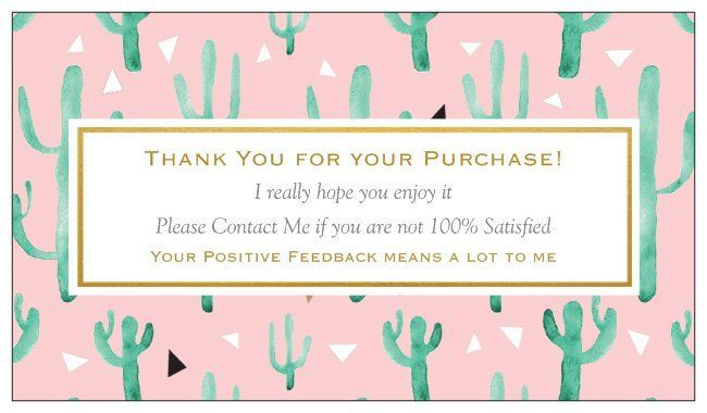 100 Professional Thank You Cards Ebay Poshmark Etsy Seller Feedback Cactus Fun By Mommalovesvintage On Etsy Thank You Cards Your Cards Purchase Card