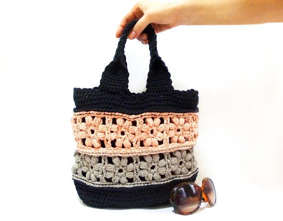 Crochet bag Handmade tote bag School bag Purse Taupe by aynikki, $70.00