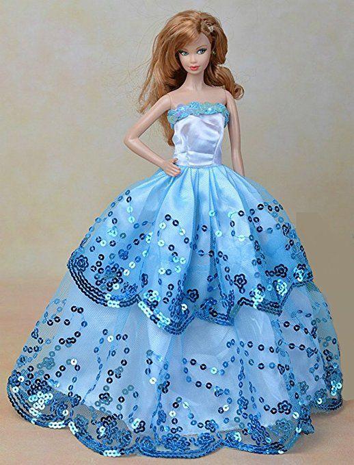 KidsHobby® Bella palla abito con dettagli in pizzo con paillettes fatta su misura per Barbie Doll (Colore casuale)
