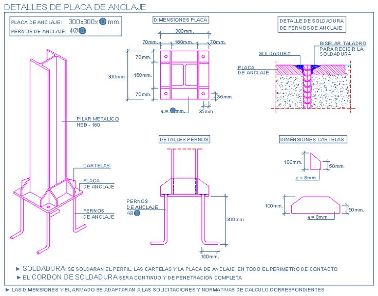 Placa de anclaje para pilar met lico atman pinterest - Tensores de acero ...