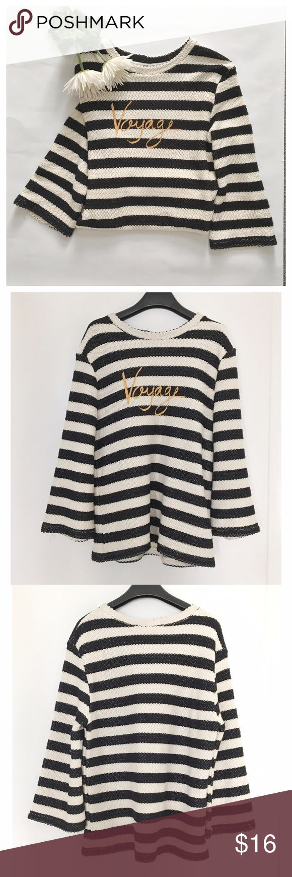 MANGO stripped sweatshirt XS Knitted fabric, striped design, rounded neck, slightly flared sleeve. 100% Cotton. The size is XS and loose fitting. I wore this once and it's in perfect condition. Mango Tops Sweatshirts & Hoodies