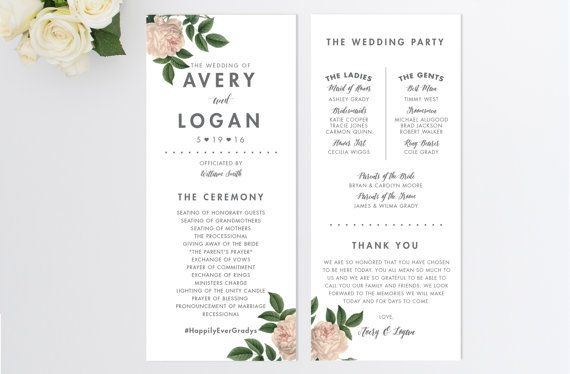 PRINTABLE Custom Wedding Program // Vintage Inspired Wedding Program // Order of…