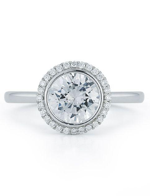 Halo Diamond Round Engagement Ring with Bezel Set