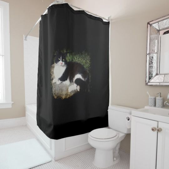 Queen of the Garden Cat Shower Curtain by www.zazzle.com/htgraphicdesigner* #zazzle #gift #giftidea #cat #bathroom #shower #curtain #catlovers #black #tuxedo