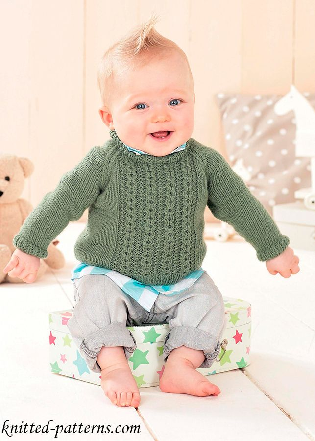 Cable Raglan Baby Sweater
