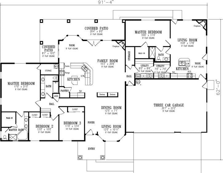 Good Multi Generation House Plans   3189 Square Foot Home , 1 Story, 4 Bedroom  And 3 Bath, 3 Garage Stalls By Monster House Plans   Plan Needed A Second  Floor On ...