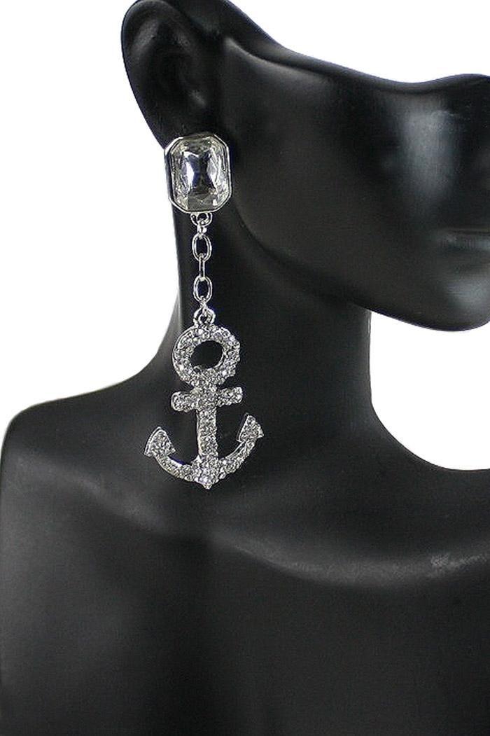 Nautical Anchor Rhinestone Crystal Acent Silver Tone Fashion Earring. Free…
