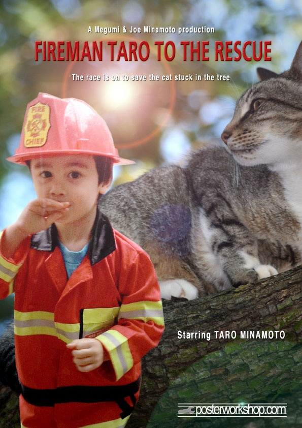 FIREMAN (Cat) KIDS MOVIE POSTER GIFT  From $45.00  Meow!  Meow!  Quick - grab your ladder and save the kitten stuck up a tree.  Star in this Fireman Movie Poster and keep your town's kittens safe.  Photo Tip: This poster works best if you wear your best Fireman gear.