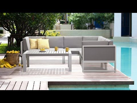 Gartenmöbel Set Weiss Grau   Gartenlounge   Gartensofa + Gartentisch Aus  Aluminium   VINCI