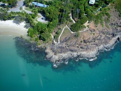 Great aerial view of the walkway to the top of the hill Helipcopter Rides Port Douglas - worldtravelfamily.com