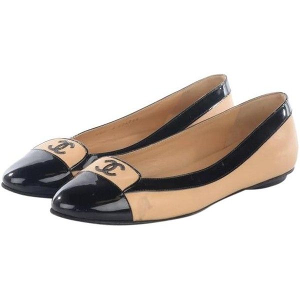 Chanel Beige Black Lambskin Patent Cap Toe Ballerina 37 Flats ($676) ❤ liked on Polyvore featuring shoes, flats, chanel shoes, black flats, flat shoes, chanel flats and ballet flat shoes