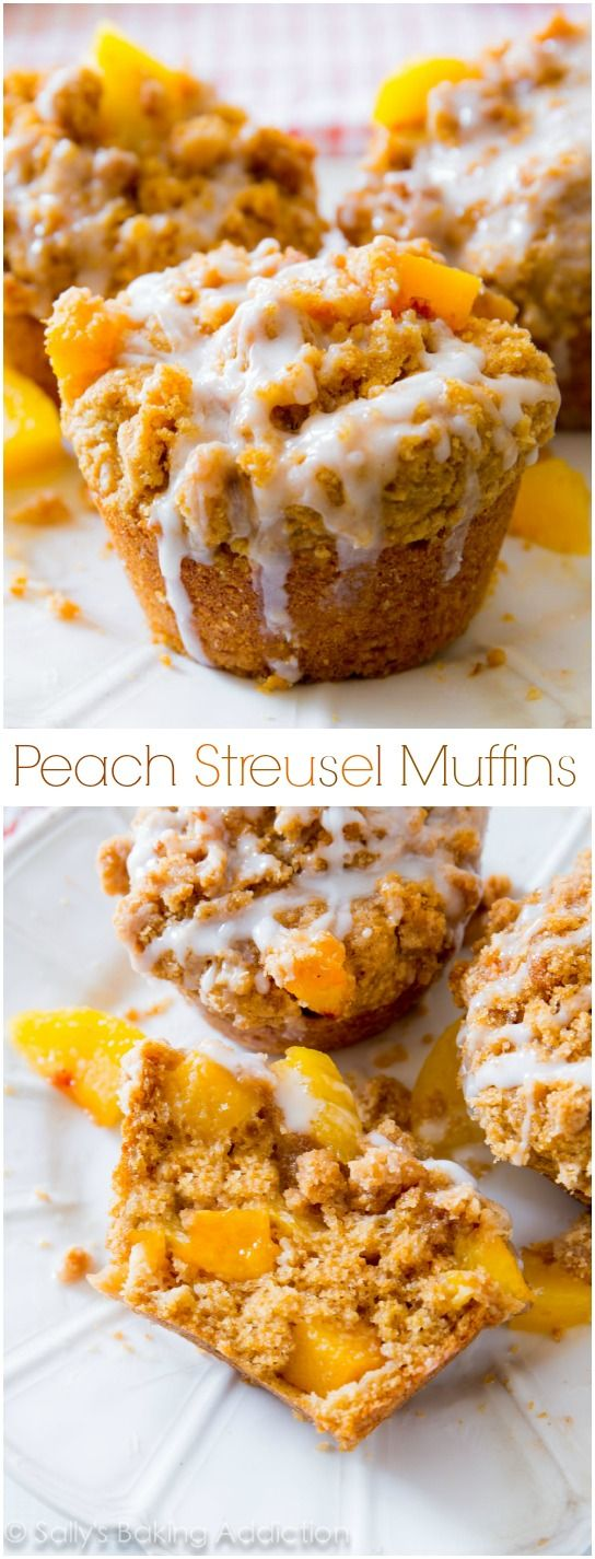 This is my favorite peach muffin recipe! Buttery and moist, these peachy muffins are heavy on the crumb topping and vanilla glaze.