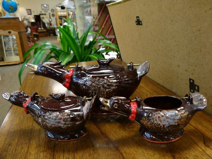 Awesome Vintage Redware Pottery Brn GOOSE Duck Teapot Cream Sugar Brass Handle | eBay