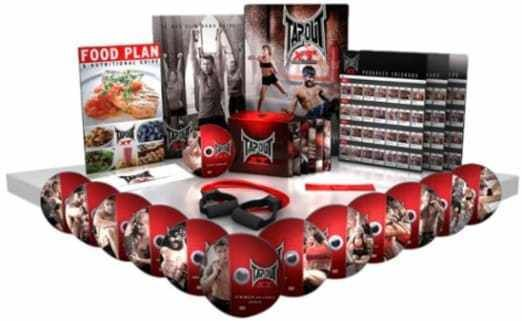 TapouT XT TV Special XT and Leg Bands/Diet Plan/Workout Chart 1 ,12 DVDs   1 DVD Everything you need comes right in the box and there's no weights or pull up bars to buy You get 12 different (MMA) inspired workout programs to test your muscles and your mind plus a Bonus Strike Training Each combat style workout combines MMA-style kicks and punches with intense cardio, strength, flexibility and core exercise to tone your entire body The included TapouT XT 90-day Fitness Plan will...