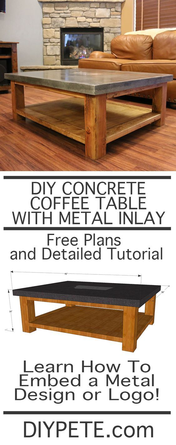 Diy simple coffee table learn how - Learn How To Make A Concrete Table And How To Embed A Metal Design Or Logo In Concrete This 2 Inch Thick Table Is Built Similar To A Concrete Counter