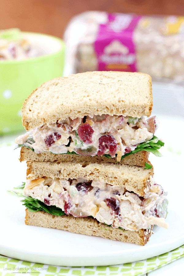 This Lighter Chicken Salad Sandwich is filled with fruits and nuts to add some protein and flavor to this meal, but you won't be left tired after eating it!  via @bestblogrecipes