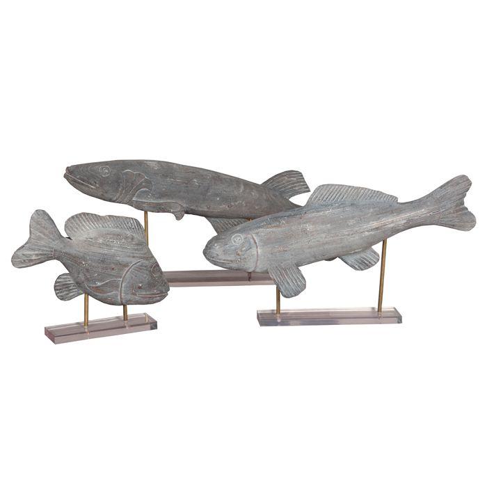 Gray Wash Carved Fish Art - Belle Escape