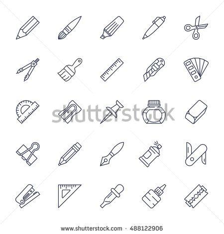Stationery tools icon set, thin line style, flat design vector illustration.