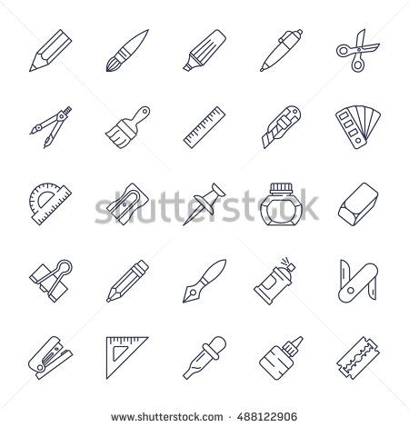Stationery tools icon set, thin line style, flat design vector illustration.