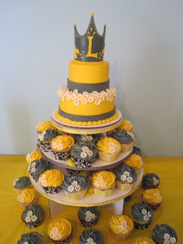 grey and yellow (bridal shower idea).. without that crown on top
