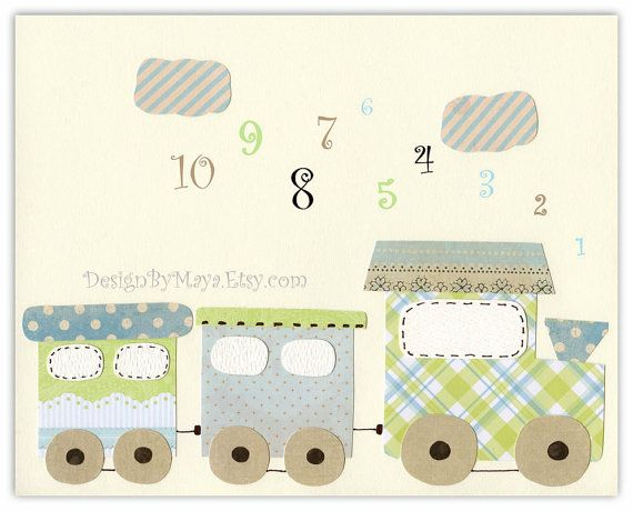 Baby Room Nursery Decor Art for kids train by DesignByMaya on Etsy, $17.00