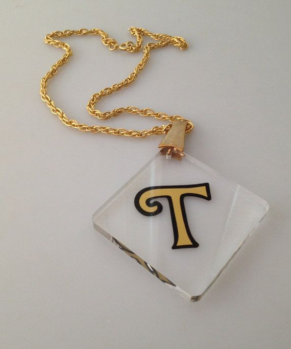 1970s Vintage LUCITE Initial Pendant Necklace by thepopularjewelry