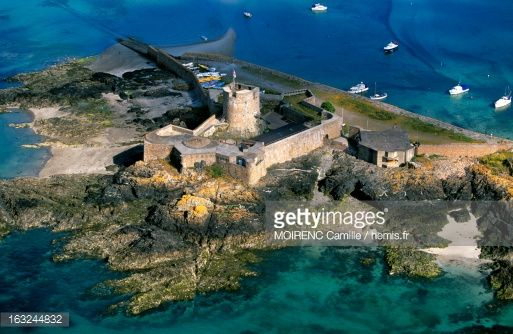 United Kingdom, Channel Islands, Jersey, St-Aubin port and fort (aerial