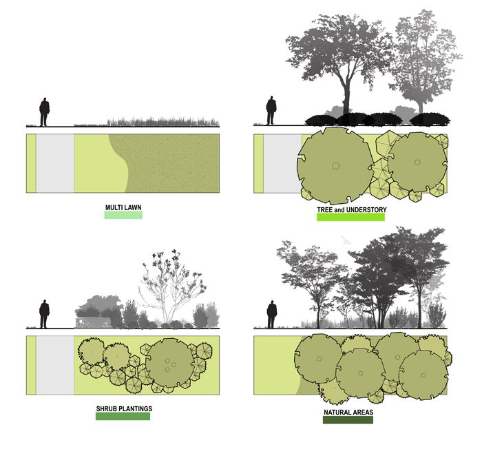 The campus was analyzed by landscape typologies, which were utilized to develop a plan to reduce energy expenditure.