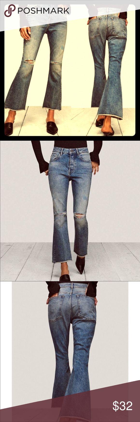 Warp + Weft PSP Valley Distress Crop Bootcut Jeans…