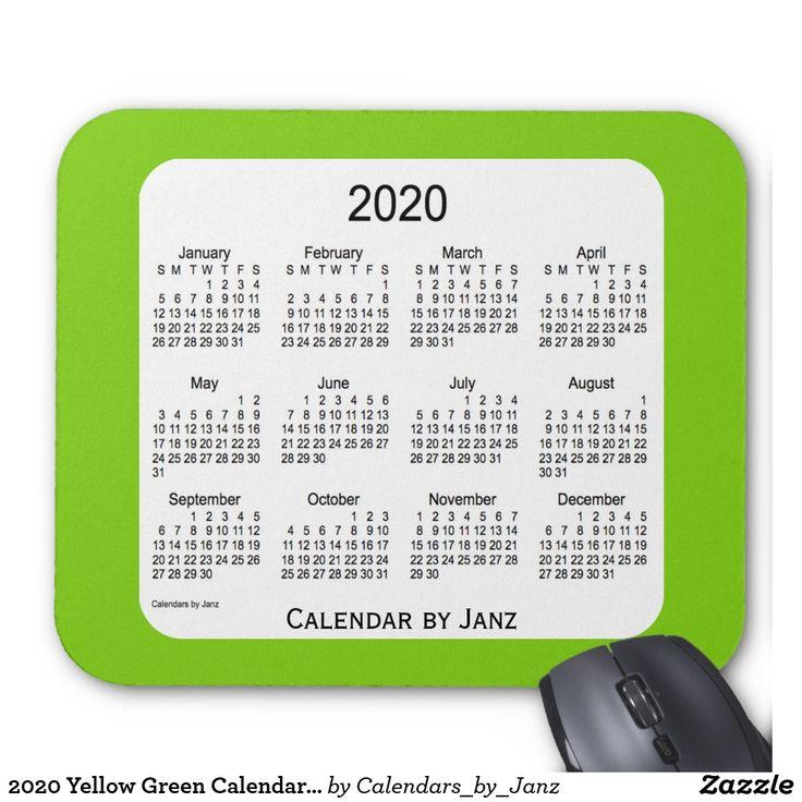 2020 Yellow Green Calendar by Janz Mousepad