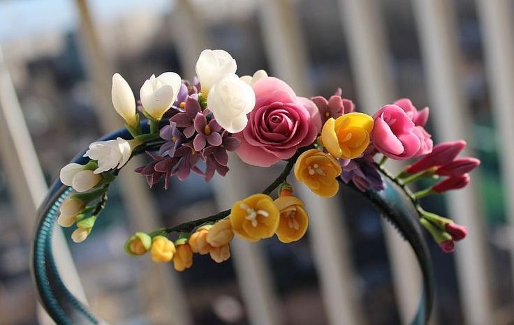 polymer clay flowers headband
