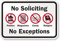 free to print no solicitors sign. I laminated it and taped it up.