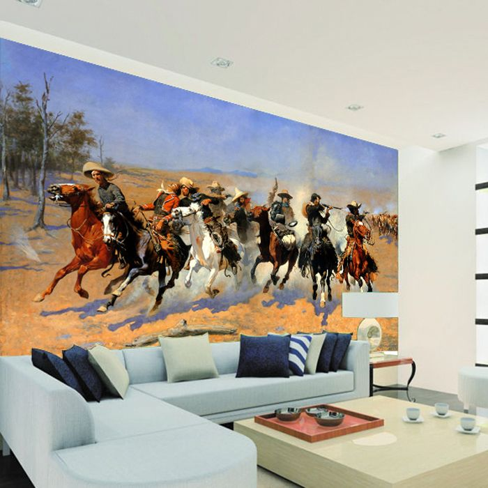Free shipping Large murals TV background wallpaper bedroom living room sofa cowboy 2 Hotel Lobby Custom Size