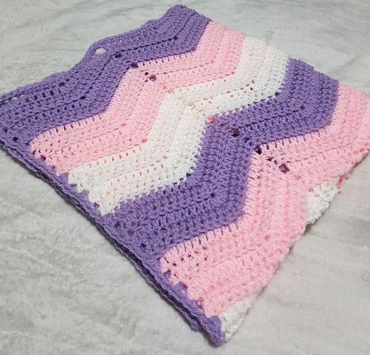 handmade crochet wave/chevron baby blanket purple pink white.Cot pram car seat   Baby, Nursery Bedding, Blankets & Throws   eBay!