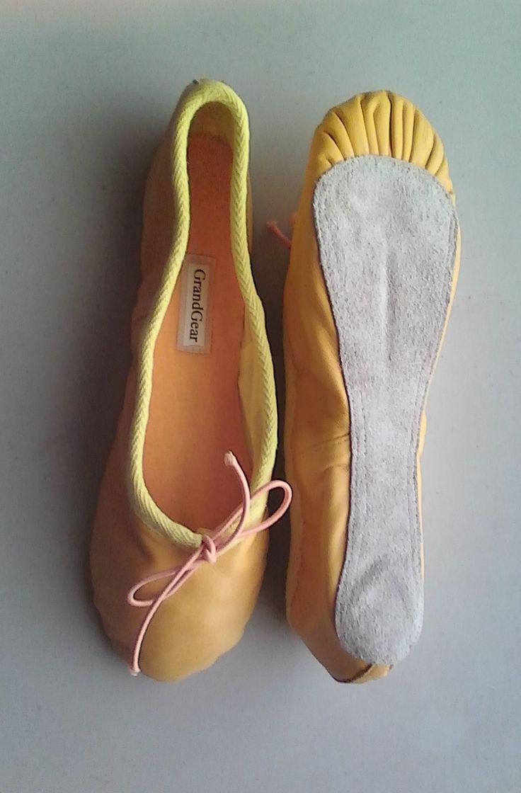GG Yellow Lambskin Leather handmade ballet slippers